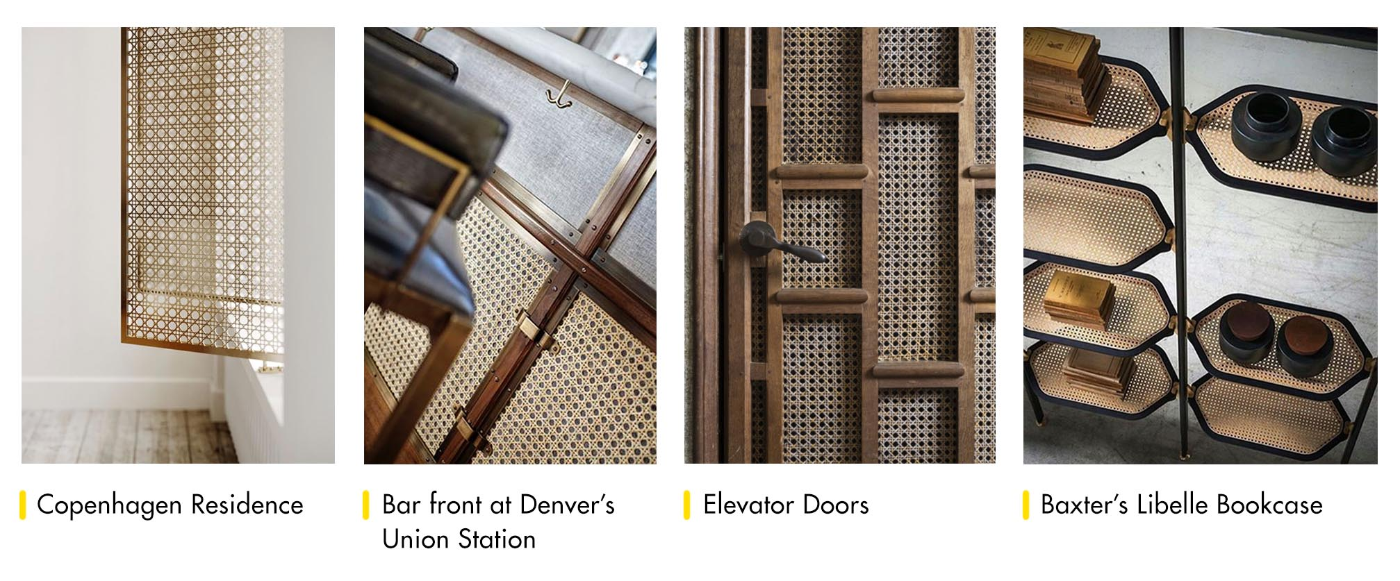 Cane used in residence window shades, F+B environments, elevator doors, furniture, and more