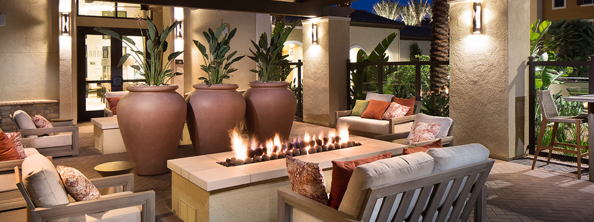 Loggia with Soft Seating and Fire Features