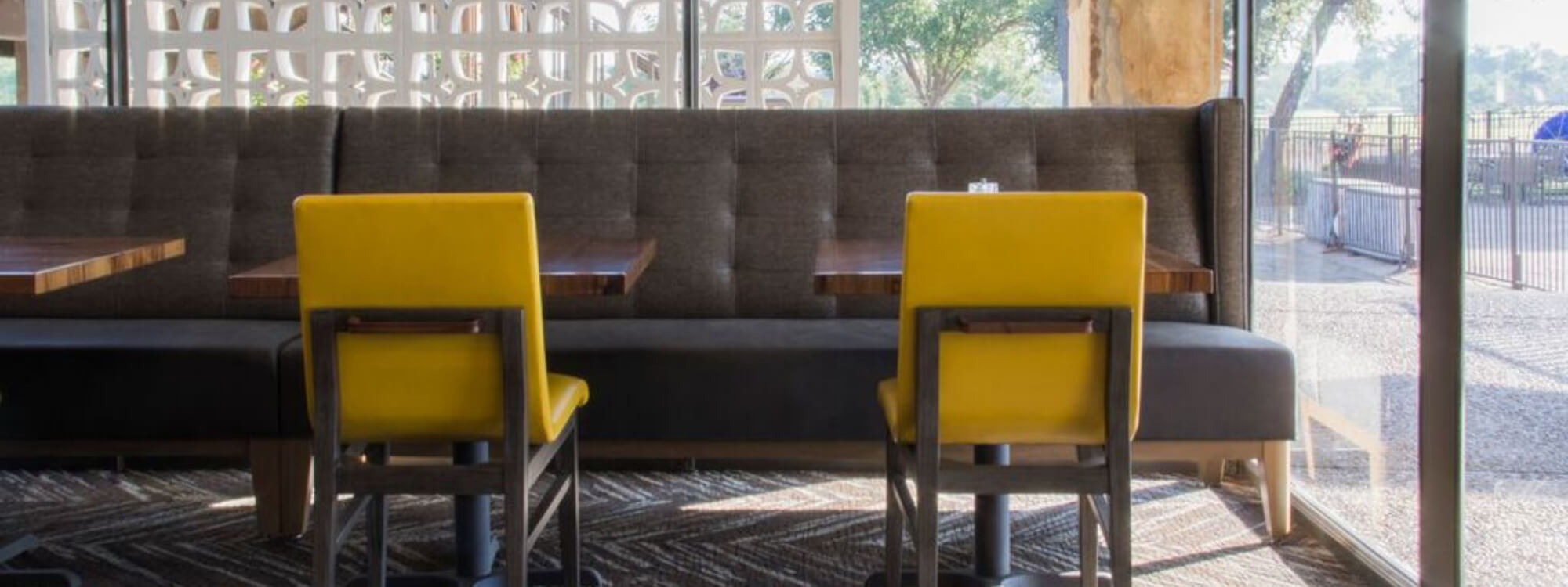 Custom Dining Banquette and Yellow Chairs